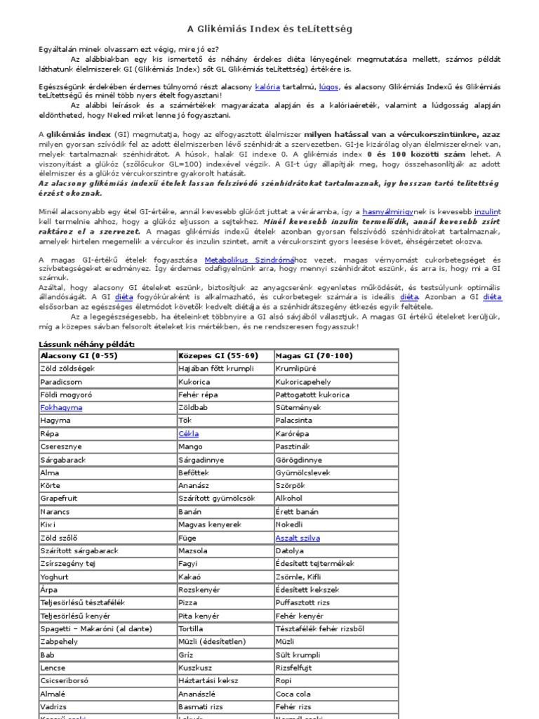alacsony glikémiás index és fogyás